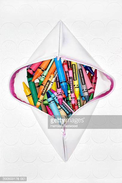 crayons in pencilcase - pencil case stock photos and pictures