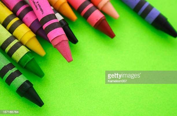 Crayons on Green