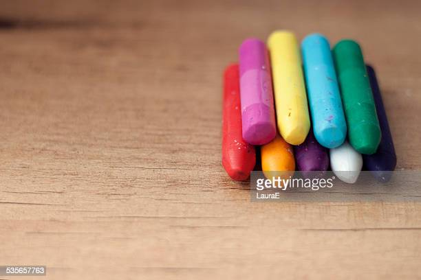 Crayons on table