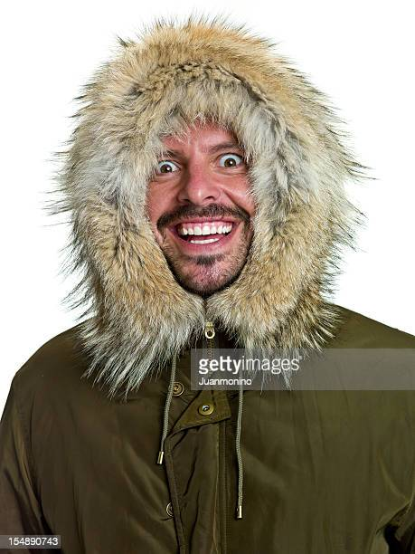 crazy arctic explorer - parka coat stock photos and pictures