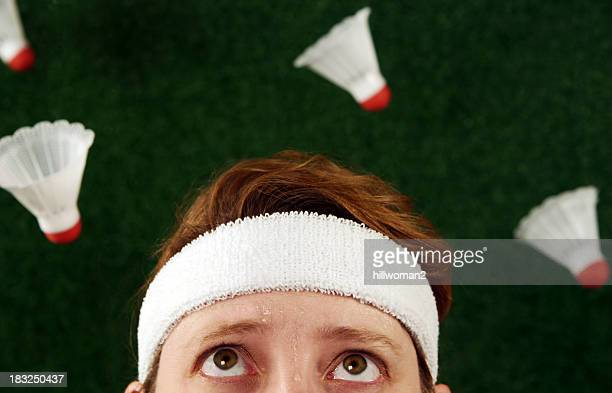 crazy badminton woman - badminton sport stock photos and pictures