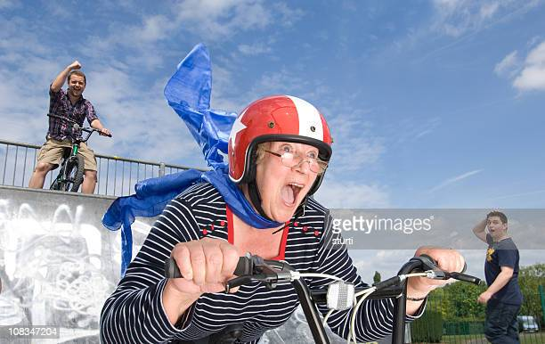 crazy bmx gran - stunt stock pictures, royalty-free photos & images