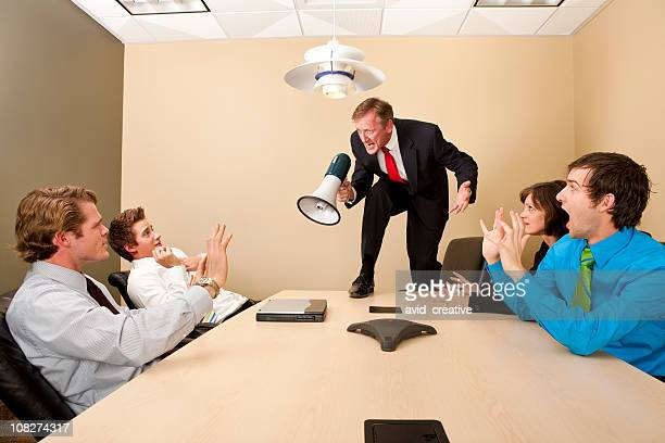 crazy boss yelling at employees - bossy stock pictures, royalty-free photos & images