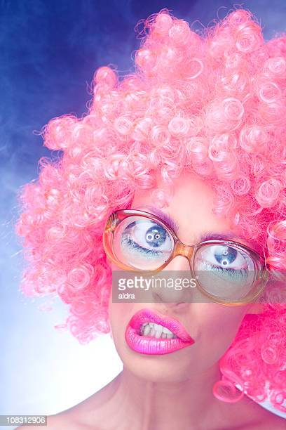 crazy girl - big eyes stock photos and pictures