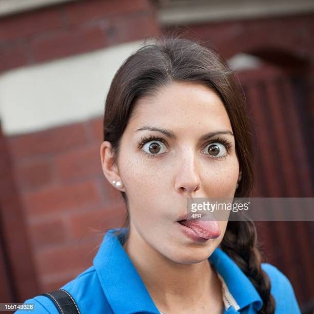 crazy grimace (xxl) - woman long tongue stock photos and pictures
