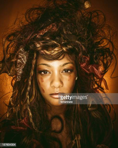 crazy hairstyle voodoo queen - african tribal face painting stock photos and pictures