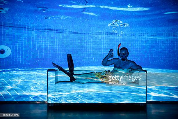 Crazy Home Pool Diving - Humor Bizarre Projector Couch Snorkel