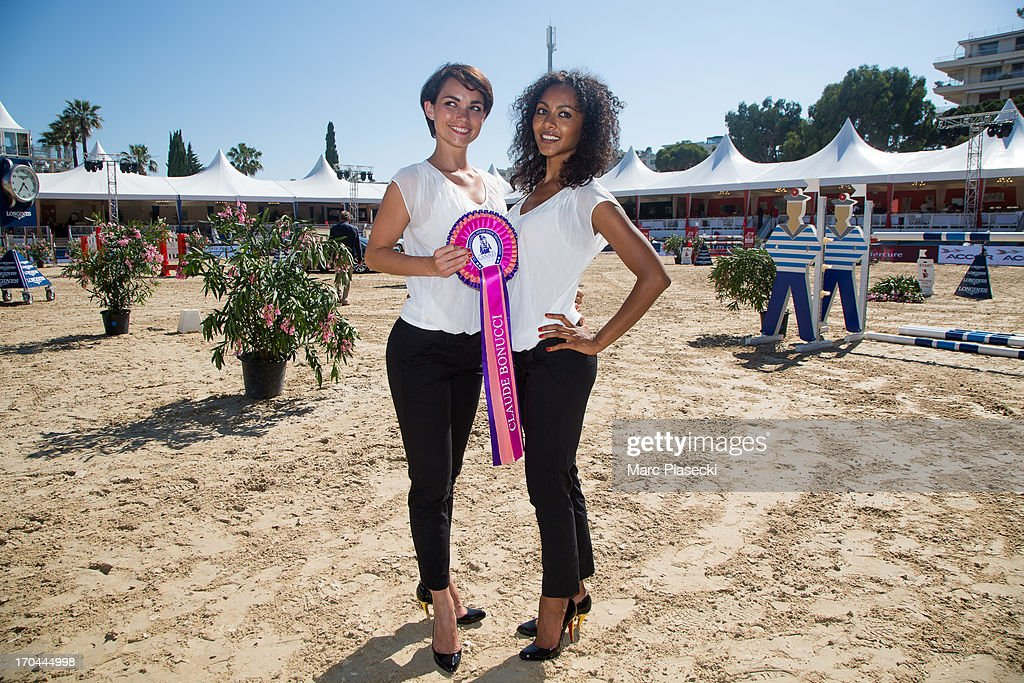 'Crazy Horse Saloon' dancers Enny Gmatic and Yaffa Yemella attend the 'Longines Global Champions Tour of Cannes 2013' on June 13, 2013 in Cannes, France.