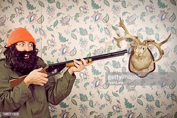 crazy hunter & wolpertinger - kopfschuss stock-fotos und bilder
