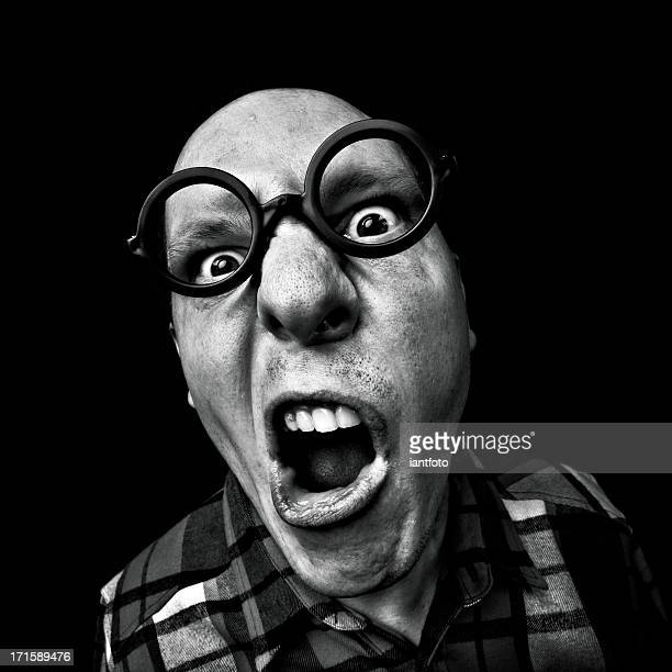crazy man with glasses - ugly kids stock photos and pictures
