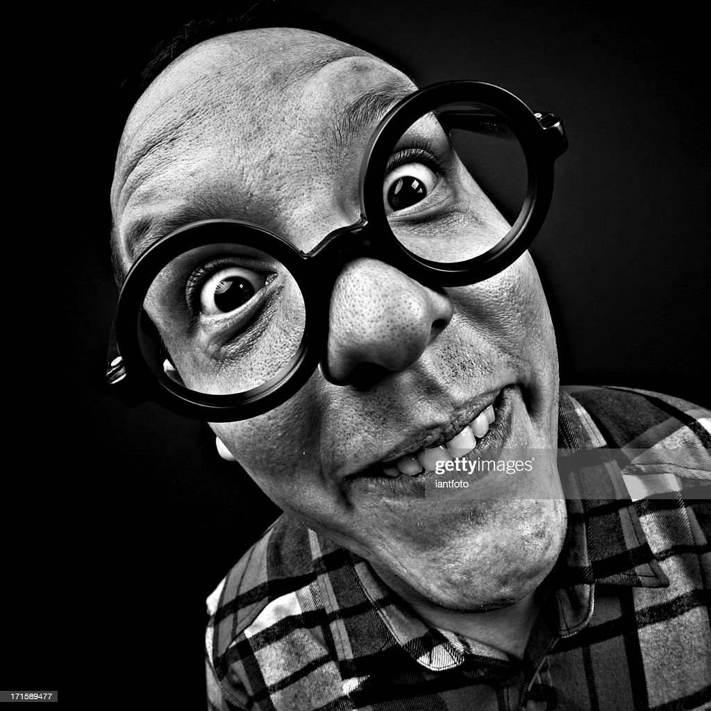 Crazy man with glasses : Stock Photo