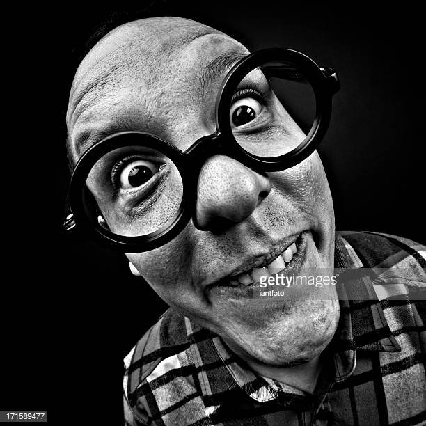 crazy man with glasses - ugly boys photos stock photos and pictures