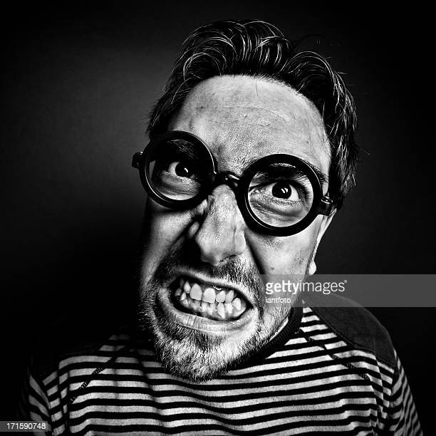 crazy man with glasses. - ugly boys photos stock photos and pictures