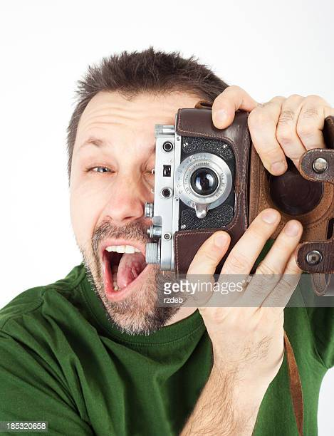 Crazy Photographer with Old Photo Camera