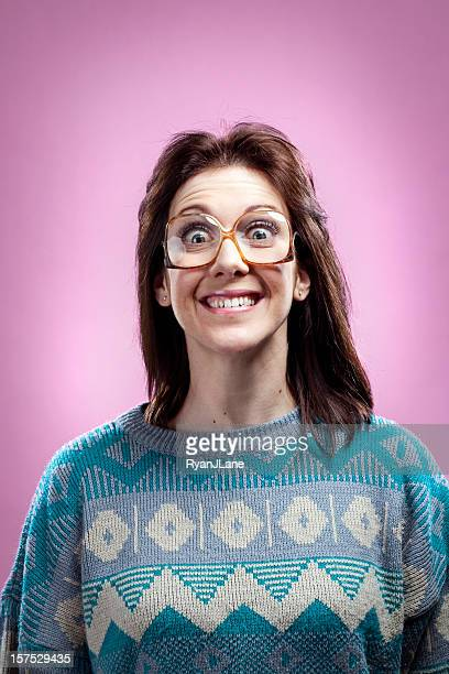 crazy pink 1980s girl and sweater - fashion oddities stock pictures, royalty-free photos & images