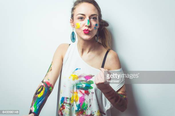 crazy playful artist - body paint stock pictures, royalty-free photos & images
