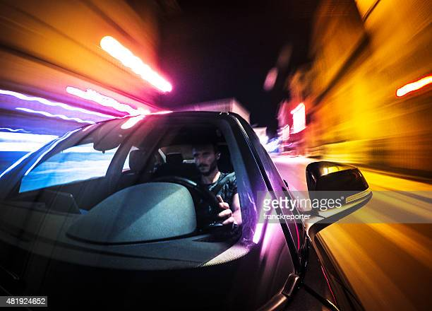 Crazy ride on the night by car