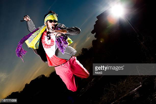 crazy rock star - psychedelic music stock photos and pictures