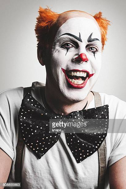 crazy scary clown - happy clown faces stock photos and pictures