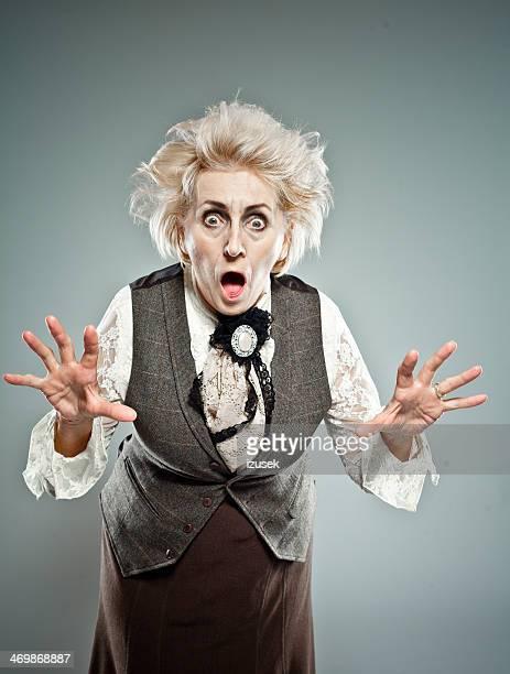 Crazy senior woman