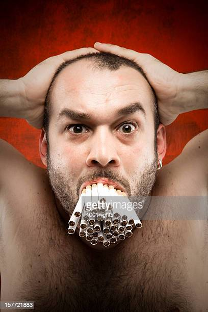 crazy smoker - ugly bald man stock photos and pictures