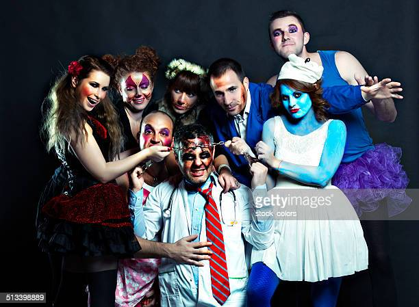 crazy togetherness - zombie makeup stock photos and pictures