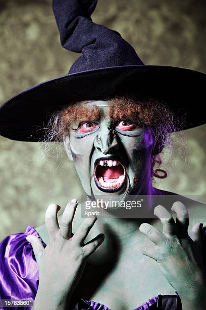crazy witch - ugly witches stock photos and pictures