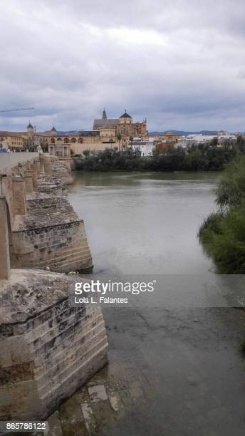 Córdoba cathedral and Guadalquivir river from the roman bridge