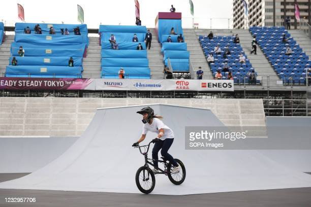 Crea Sato in action during her first heat ride at the Ready Steady Tokyo BMX Freestyle Olympic Test Event in Ariake Urban Sports Park.