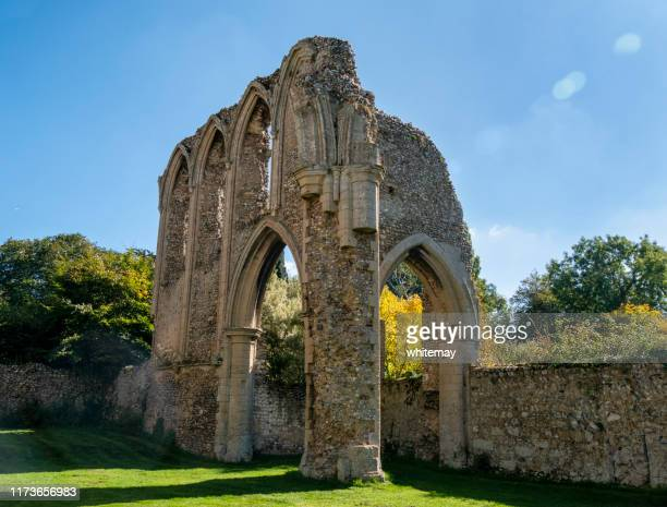 creake abbey ruins, norfolk - chert stock photos and pictures