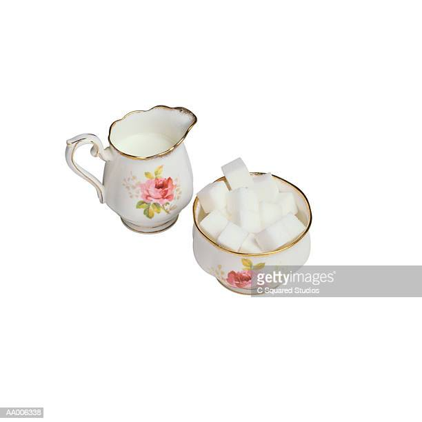 cream and sugar - sugar bowl crockery stock photos and pictures