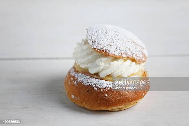 Cream bun, high angle view