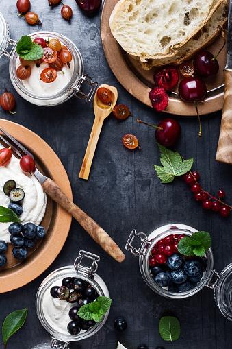Cream cheese dessert with fresh colorful summer berries - gettyimageskorea