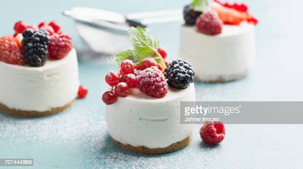 Cream dessert with fresh berries