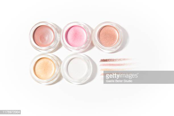 cream eyeshadows pots and swatches - eyeshadow stock pictures, royalty-free photos & images