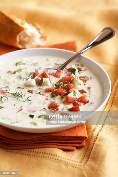 Cream gazpacho soup in bowl, close-up