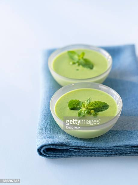 Cream of pea and mint soup