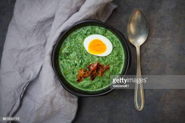 cream of spinach soup with egg and bacon - green eggs and ham stock photos and pictures