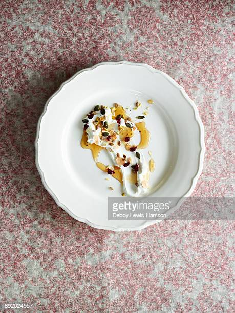 Cream, seeds and honey dessert