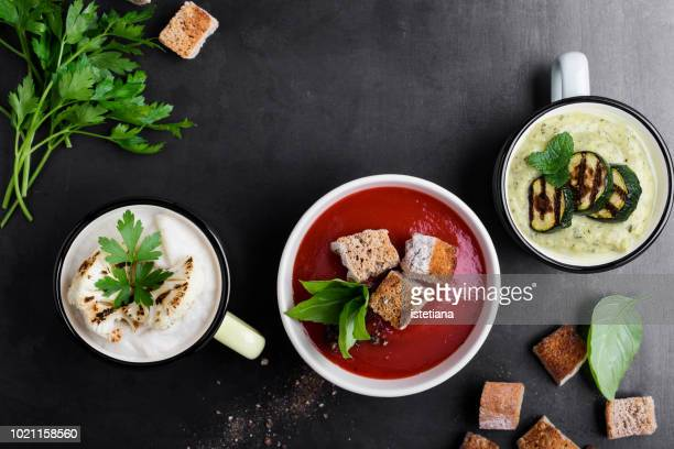 cream soups variety - pureed stock photos and pictures