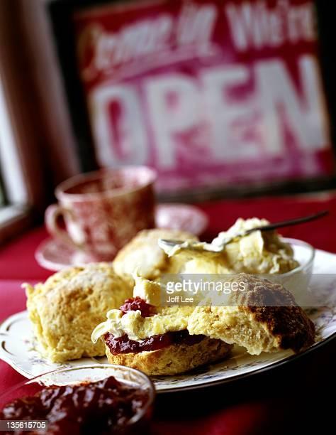 Cream tea - scones with jam & clotted cream