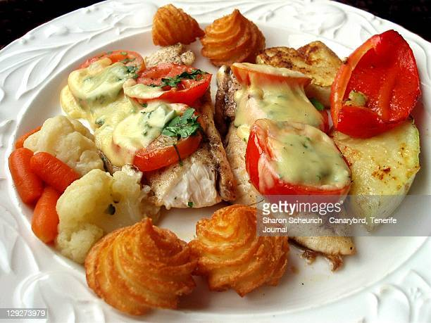 Creamed haddock with vegetables