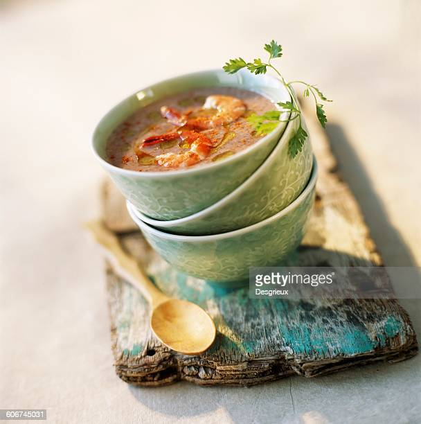 creamed red rice soup with lemon grass and grilled prawns