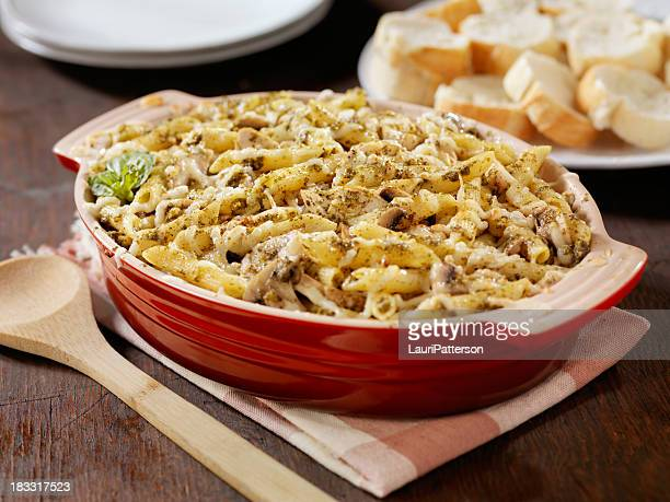 Creamy Baked Pesto Chicken, Mushroom and Penne Casserole