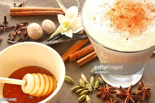 creamy chai latte - chai stock photos and pictures