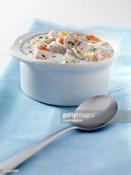 creamy chicken and vegetable soup 1 - chicken soup stock photos and pictures