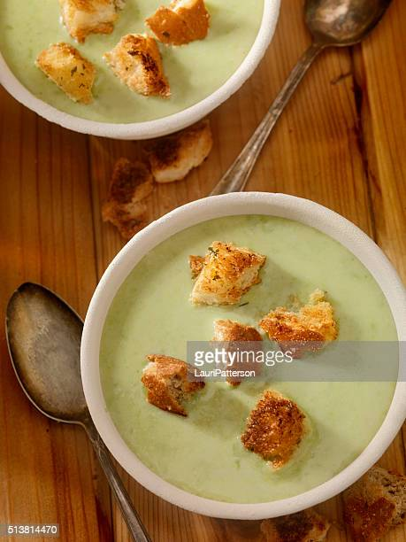 creamy cucumber soup with croutons - crouton stock photos and pictures