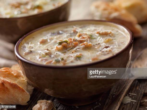 creamy italian sausage and potato soup - comfort food stock pictures, royalty-free photos & images