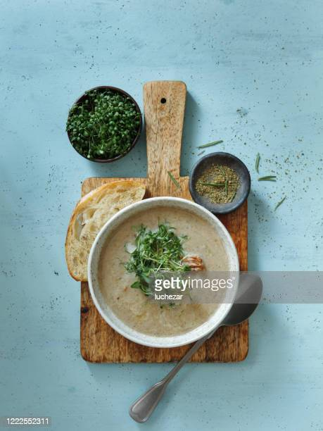 creamy roasted garlic and mushroom soup with bacon - comfort food stock pictures, royalty-free photos & images