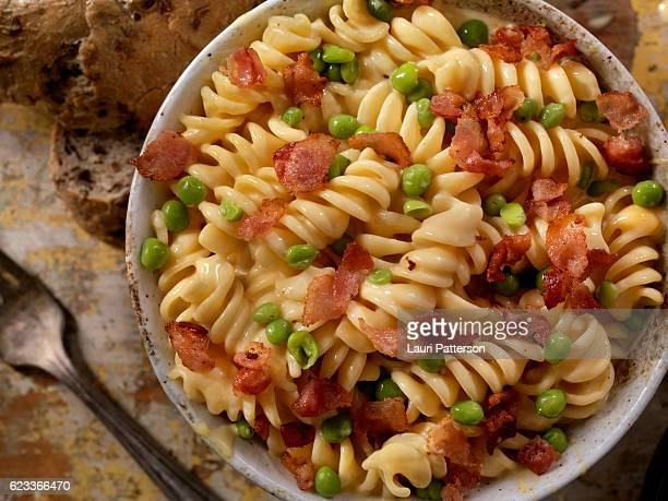 Creamy Rotini and Cheese Carbonara with Peas